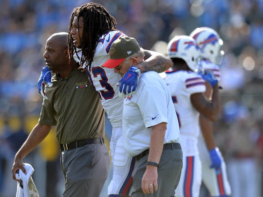 Nov 19, 2017; Carson, CA, USA; Buffalo Bills wide receiver Kelvin Benjamin (13) is helped off the field by trainers during the first quarter against the Los Angeles Chargers at StubHub Center. Mandatory Credit: Jake Roth-USA TODAY Sports