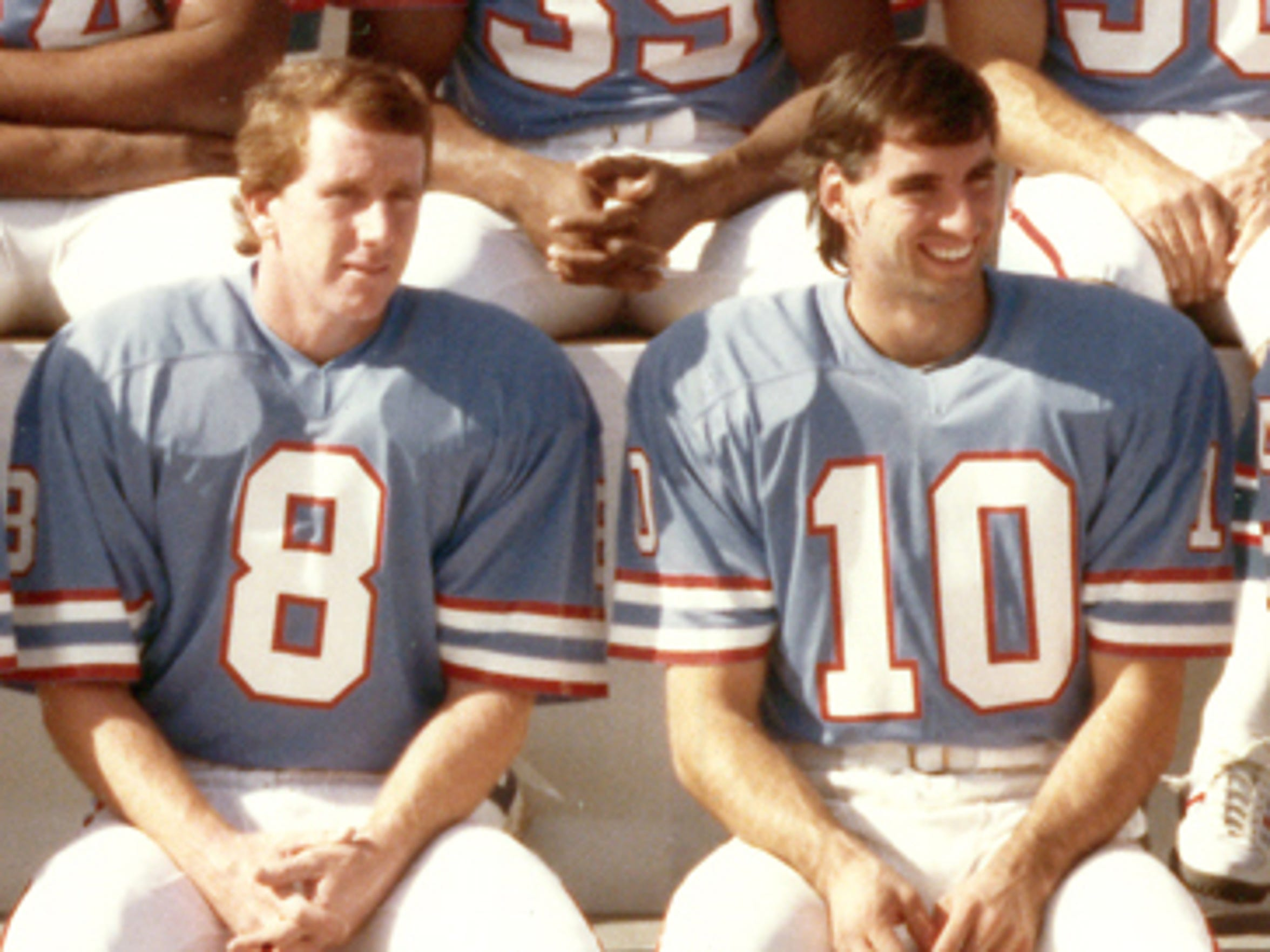 Teammates on the 1982 Houston Oilers: Archie Manning (left) and Oliver Luck, fathers of Indianapolis Colts' quarterbacking royalty.