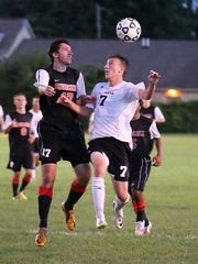 One of Plymouth's key returnees is Mike Blake (right), shown from a 2014 game.