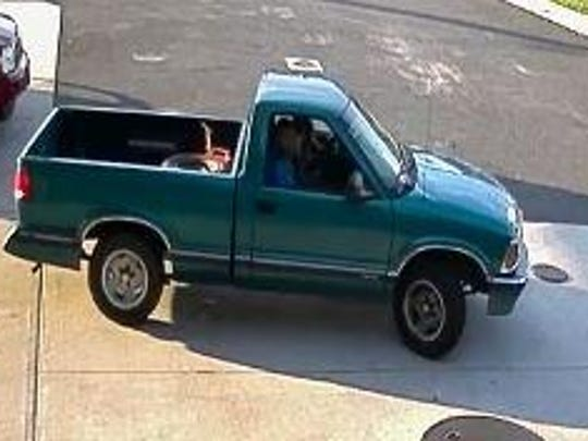 Truck of suspect in Toms River gas station air pump thefts.