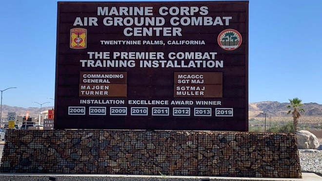 A Marine who was transported to a Palm Springs hospital for a self-inflicted gunshot wound after a two-hour-long incident with police at the Marine Corps Air Ground Combat Center at Twentynine Palms died Tuesday, July 7, 2020.