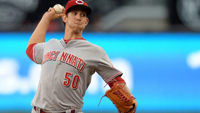 Aug 11, 2015; San Diego, CA, USA; Cincinnati Reds starting pitcher Michael Lorenzen (50) pitches during the first inning against the San Diego Padres at Petco Park. Mandatory Credit: Jake Roth-USA TODAY Sports