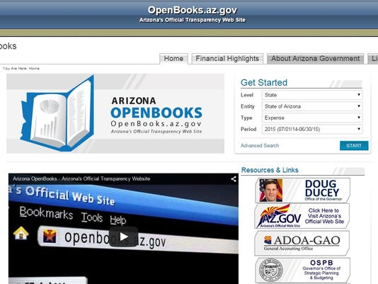 Arizona OpenBooks government spending transparency website
