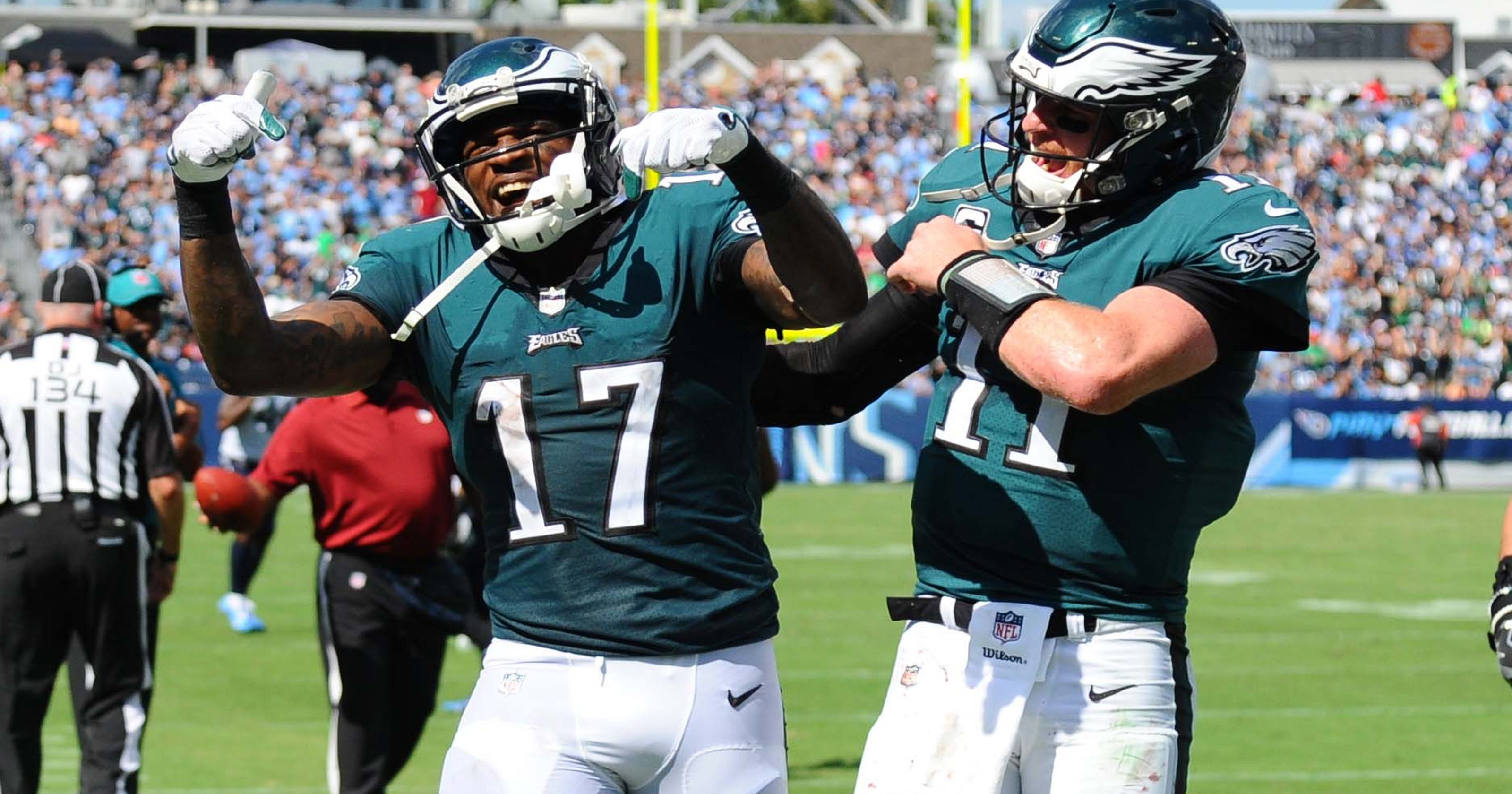 1b2d1f39318 Alshon Jeffery shines in return, but Eagles can't hold lead, fall to Titans  in OT