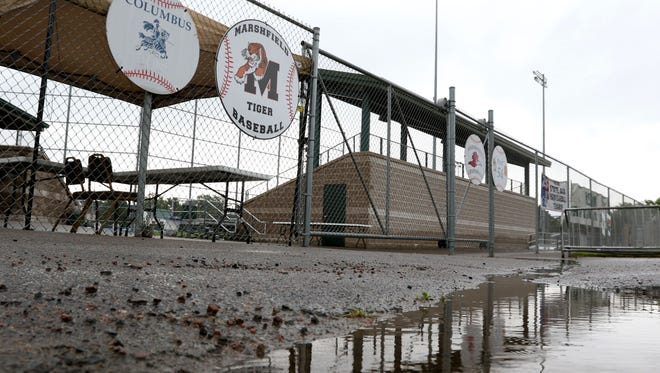 Rain delayed play Thursday for the American Legion Class AAA tournament at Jack Hackman Field in Marshfield.