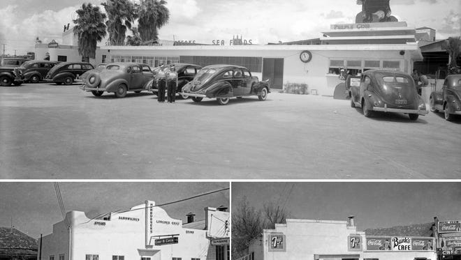 "The Purple Cow Drive-In (top) on Water Street, where the U&I is today, shown in 1939. The Chat 'N' Chew (bottom left), on Leopard across from Sears (where City Hall is today), shown in 1938. Bunk's Café, next to the Chat 'N' Chew, shown in 1942. Photos by ""Doc"" McGregor, Museum of Science and History."