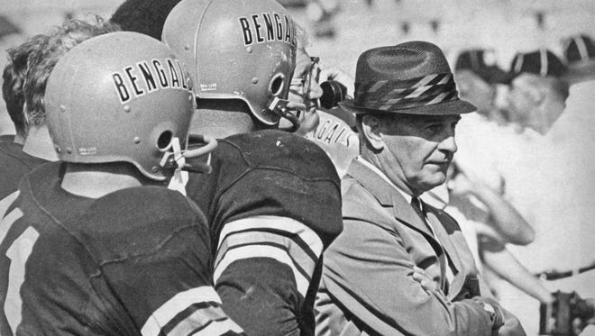 Paul Brown coached the Cincinnati Bengals to its first victory on Sept. 15, 1968, at Nippert Stadium.