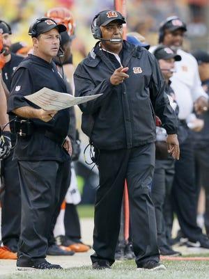 Cincinnati Bengals offensive coordinator Ken Zampese, left, is reviewing how he can help the team score more points in 2017.