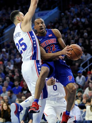 Avery Bradley drives against Ben Simmons on Saturday in Philadelphia. Bradley is shooting 9-for-33 (27.3 percent) and averaging 7.3 points during the Pistons' three-game losing streak.