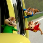 """This photo provided by courtesy of Twentieth Century Fox shows, Theodore, Alvin, and Simon on a wild """"road chip"""" in """"Alvin and the Chipmunks: The Road Chip."""" The animated movie opens in U.S. theaters on Dec. 18, 2015. (Twentieth Century Fox via AP)"""