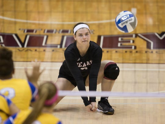 Sophomore Emily Butters leads the Bears in digs after