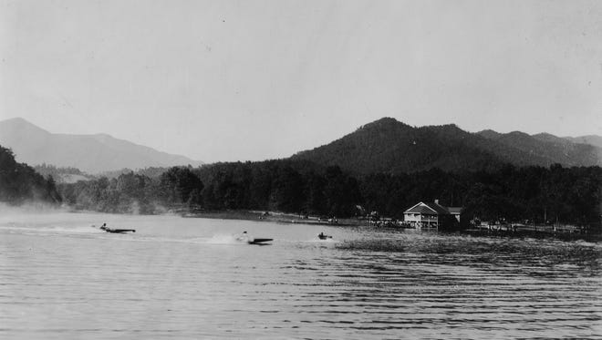 As early as 1913 plans for a lake, to be known as Lake Tomahawk, were under consideration as part of the Methodist Colony that was to be built just northwest of town. When the colony's plans fell through, the town, aided by funds from the Civil Works Administration and later the Federal Emergency Relief Administration (FERA), began work on a recreation center on the site. On Labor Day weekend 1934, the town officially opened Lake Tomahawk and the Community House with a day of watersports, including speedboat racing, as seen in this photograph from the Swannanoa Valley Museum & History Center's collection. In 1938, the lake closed to swimmers due to water quality issues, and a pool was constructed.
