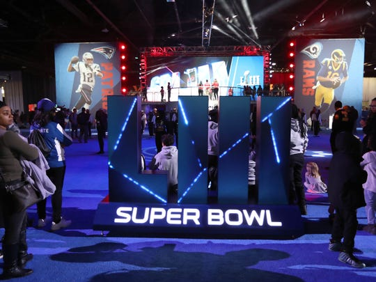 Jan 31, 2019; Atlanta, GA, USA; A general view of the Super Bowl LII logo during the NFL Experience at Georgia World Congress Center. Mandatory Credit: Matthew Emmons-USA TODAY Sports ORG XMIT: USATSI-401392 ORIG FILE ID:  20190131_mje_se2_023.jpg
