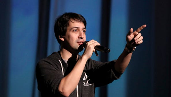Lin-Manuel Miranda is seen during rehearsals for the