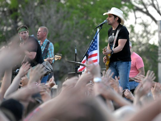 """Country music singer and Franklin, Tenn. resident Brad Paisley films a music video for his new song  """"Heaven South"""" on the downtown Franklin square on Saturday, April 15, 2017."""
