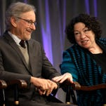 Supreme Court Justice Sonia Sotomayor, right, speaks with film director Steven Spielberg, left, on stage during award ceremonies for the W.E.B. Du Bois Medal winners, on the campus of Harvard University, in Cambridge, Mass., Wednesday.