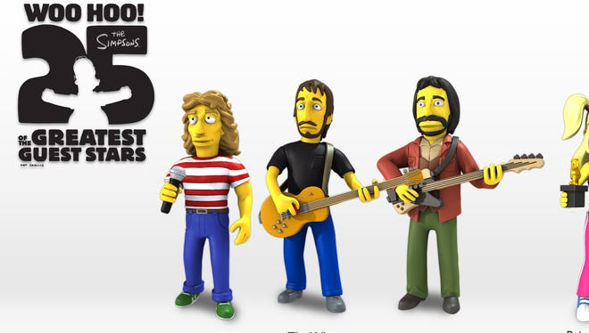 This exclusive image shows the new 'Simpsons' celebrity action figures, which go on sale in April.