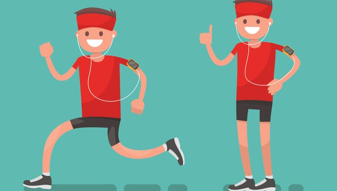 Athlete running and after running