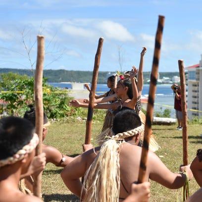 Cultural dance group Pa'a Taotao tano' perform during the 8th Gupot Fanha'aniyan Pulan Chamoru (Chamorro Lunar Calendar Festival) at Sagan Kotturan Chamoru in Tumon on Feb. 6.