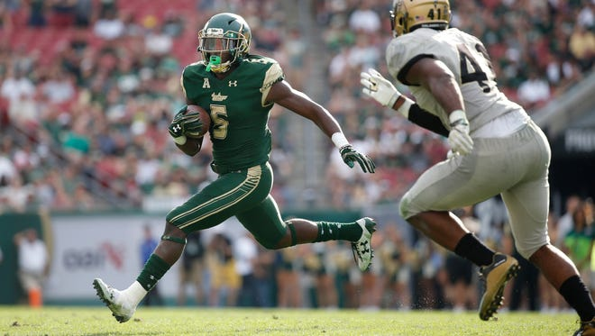 Six of South Florida's Marlon Mack's 15 rushing touchdowns last season went for 43 yards or more.