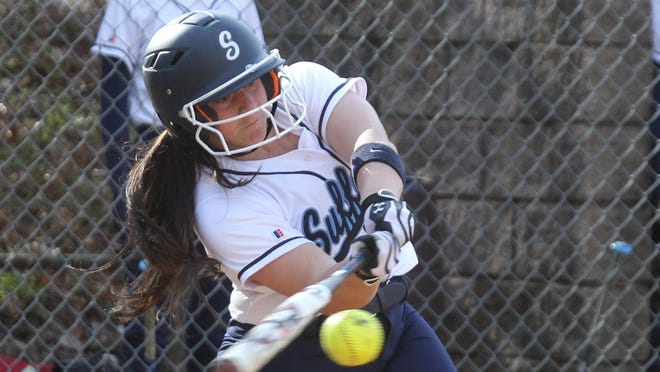 Suffern's Sami Iodice connects during a game at Clarkstown South Wednesday. Iodice drove in the go-ahead run, and the Mounties won 5-3.
