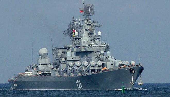 The Moskva, a missile cruiser flagship of the Russian Black Sea fleet, sails Sept. 10, 2008.