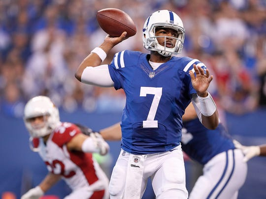 Indianapolis Colts quarterback Jacoby Brissett (7) in the second half of their game at Lucas Oil Stadium Sunday, Sept, 17, 2017. The Colts lost to the Cardinals 16-13 in overtime.