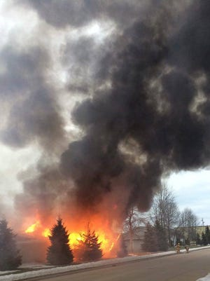 A garage unit in the 3300 block of Yorkshire Lane in Manitowoc caught fire on Feb. 21.