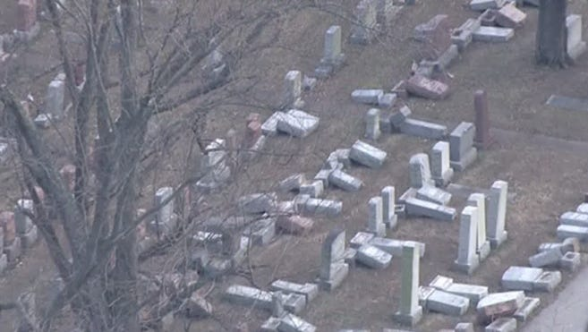 Headstones were damaged at the historic Chesed Shel Emeth Cemetery in St. Louis Feb. 20, 2017.