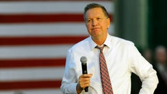 Ohio Gov. John Kasich speaks during a campaign event