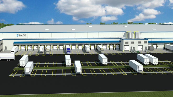 A rendering of the 125,000-square-foot expansion under construction at Win Chill Cold Storage, the refrigerated warehouse at Foundation Park.