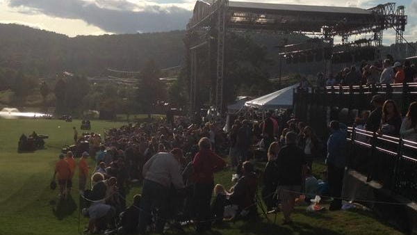 The crowd filters in before the Zac Brown Band concert Friday night at En-Joie Golf Course