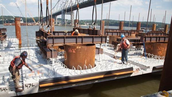 Precast pile cap installation work taking place on the new Tappan Zee Bridge project in this undated photo.