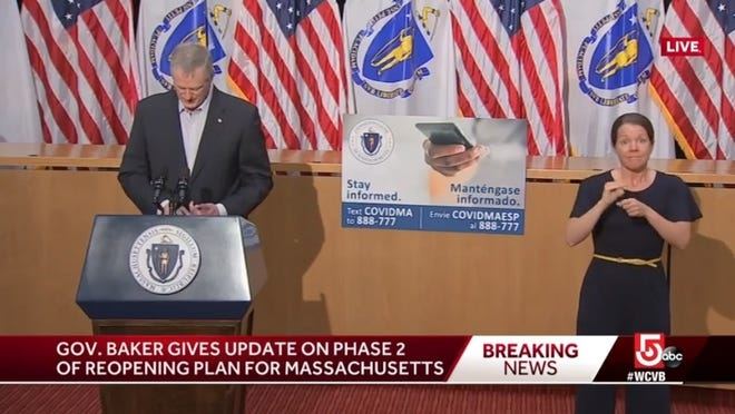 Gov. Charlie Baker gives an update on the coronavirus and plans for Phase 2 of the state's reopening.