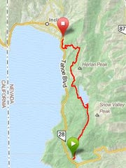 Riding the Flume Trail from Spooner Backcountry State Park to Tunnel Creek Cafe is about a 12.5 mile trip. The first four are uphill, the rest is flat or downhill. There are great views of Lake Tahoe and Marlette Lake nearly the entire time.