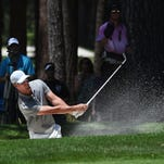 Mark Mulder hits out of a sand trap during the final round of the American Century Championship golf tournament at the Edgewood Tahoe Golf Course in Stateline, Nev. on  July 19, 2015.