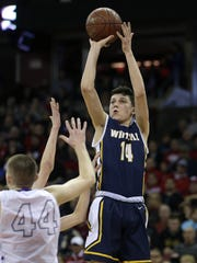 Whitnall guard Tyler Herro hits a shot during Waunakee's 62-59 win over Whitnall to advance to the Division 2 championship in 2016. Herro is hoping to lead his team back to the state tournament in 2018.
