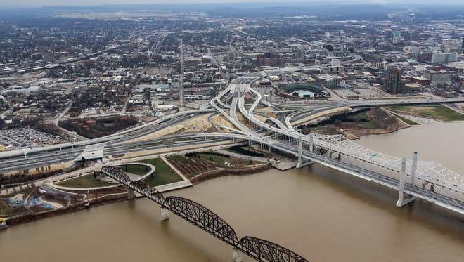 Spaghetti Junction, Ohio River, Lincoln Bridge, Kennedy Bridge, Big Four Bridge, Waterfront Park, Extreme Park,  I-64 and I-65 and approaches.December 18, 2016