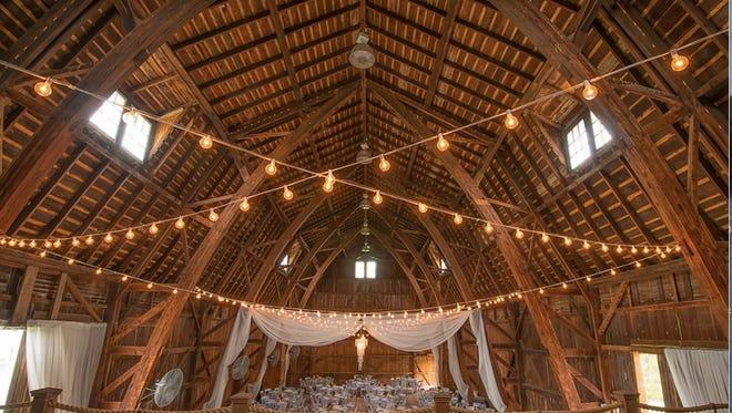 Interior of the Avon Century Barn, where weddings are held.