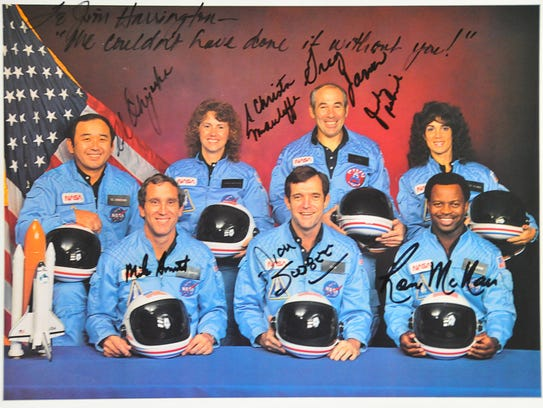 NASA cew photo signed by all the Challenger astronauts