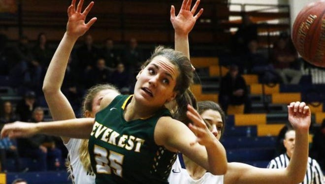 D.C. Everest'sAshley Hodell reaches for a loose ball during a matchup with Wausau West earlier this season. West, Everest and  Marshfield are tied atop the Wisconsin Valley Conference girls basketball standings entering the final week of the regular season
