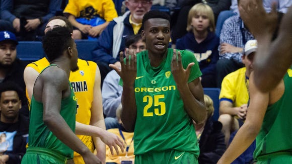 Feb 22, 2017; Berkeley, CA, USA; Oregon Ducks forward Chris Boucher (25) reacts after a call against the California Golden Bears during the second half at Haas Pavilion. The Ducks won 68-65. Mandatory Credit: Kelley L Cox-USA TODAY Sports