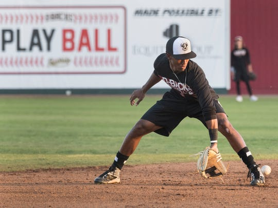 Visalia Rawhide's Raymel Flores practices at Recreation Park on Tuesday, April 3, 2018. Their season opener is Thursday.