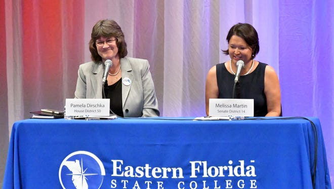 Democrats Pam Dirschka, running for House District 50, and Mel Martin, running in Florida Senate District 14, attended a candidate forum held on the Eastern Florida State College Cocoa campus in September.