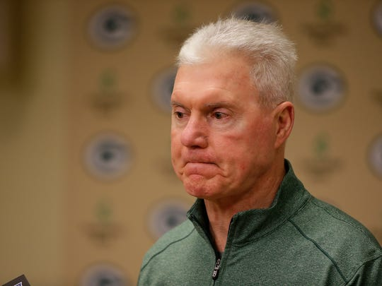 Green Bay Packers GM Ted Thompson speaks to the media