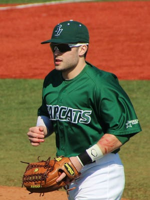 Binghamton University outfielder Jake Thomas.