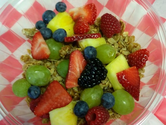 Homemade granola topped with fresh fruit at Lava Java in Lavallette.