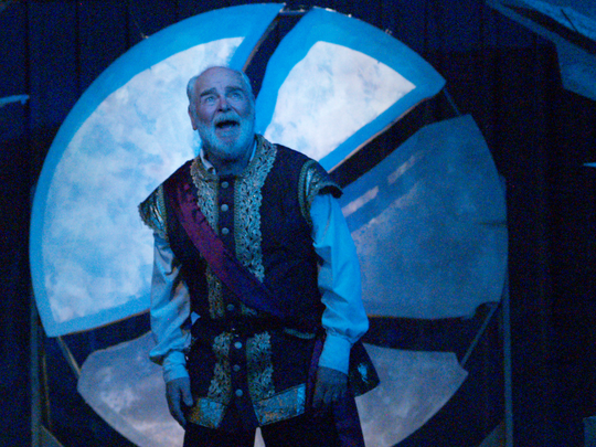 """James Pickering faces the storm in """"King Lear,"""" performed by Optimist Theatre."""