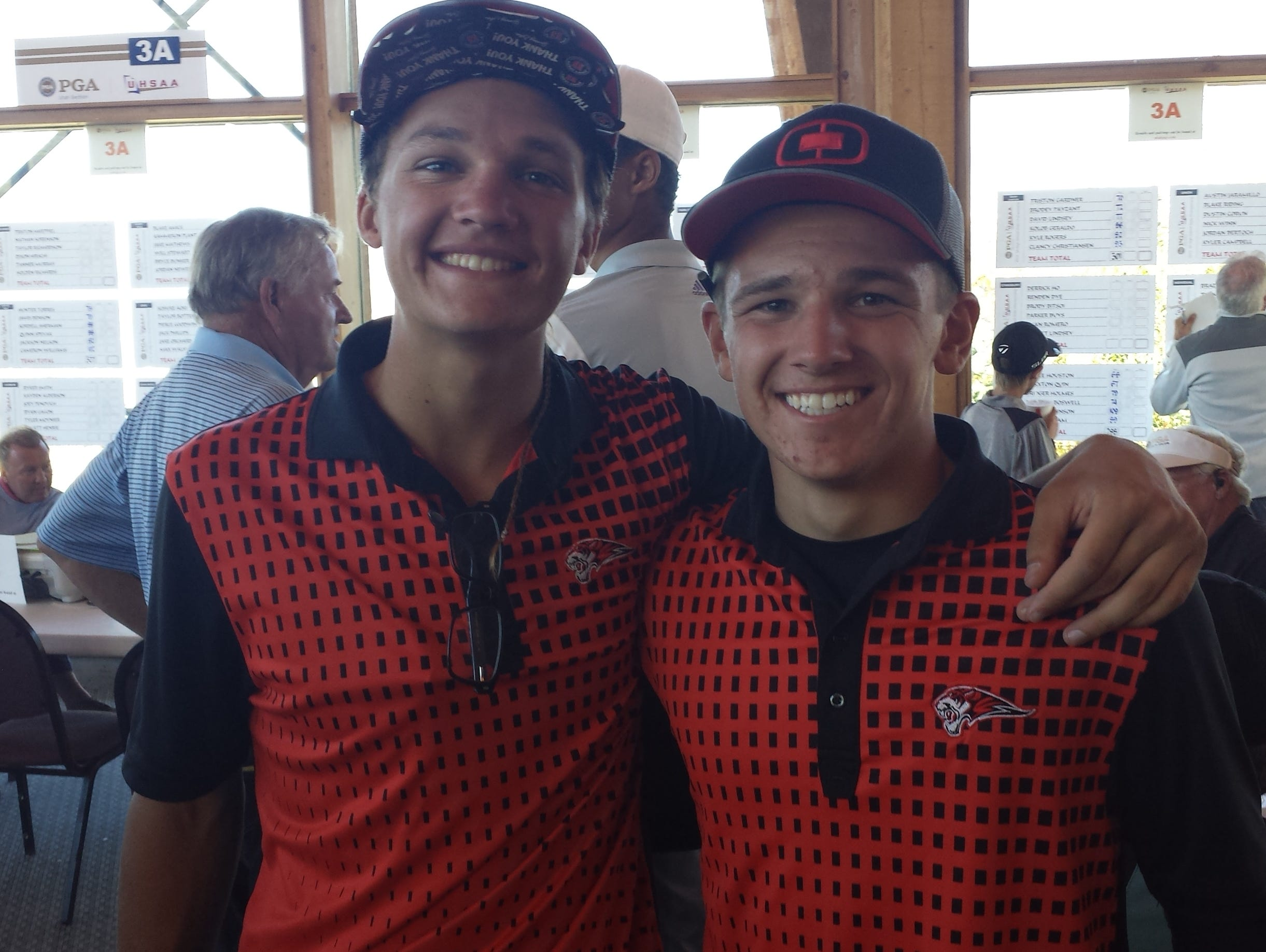 The first day of the 3A state tournament took place at Soldier Hollow on Wednesday. Hurricane's Thomas Christiansen and Christian Morris pose for picture after competing in the individual tournament.