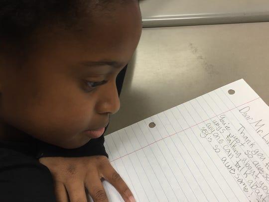 Mt. Juliet Elementary fifth-grader Ava Bryant writes
